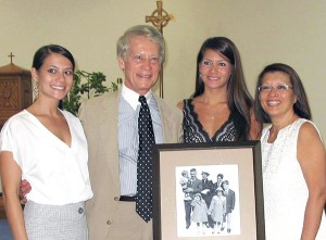 Rich and Joan Tomc with their daughter Jamie and Dana at the dedication ceremony at Mercy High School