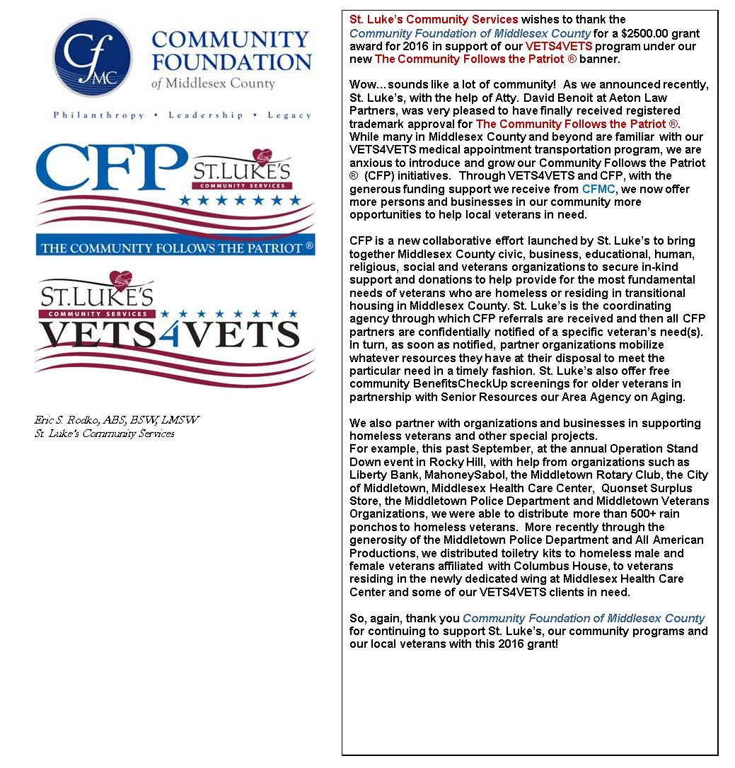 Community Spirit Abounds in Middlesex County - VETS4VETS receives CFMC Grant for 2016